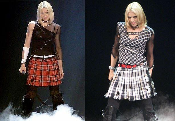 Tattered and burnt tartan ensemble<br>Drowned World Tour, 2001<br>Stylist: Arianne Phillips