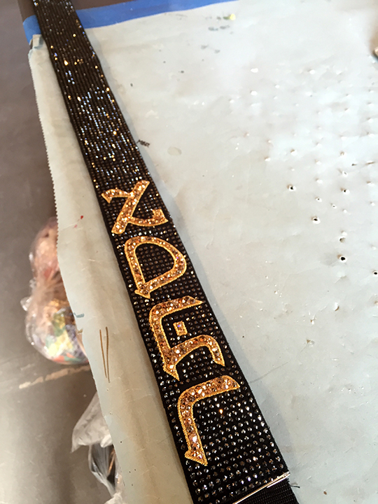 Crystalled Esther guitar strap<br>Rebel Heart Tour 2015<br>Wardrobe Design Arianne Phillips