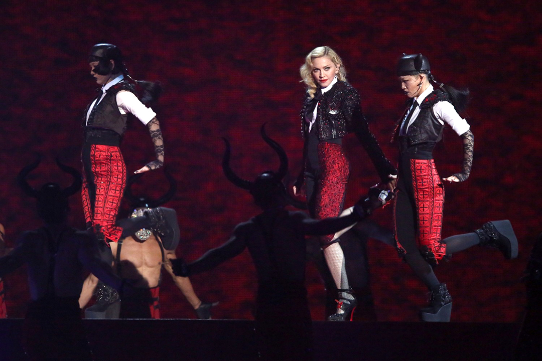 Crystalled black velvet matador hats ~ Rebel Heart Tour 2015<br>Wardrobe Design Arianne Phillips