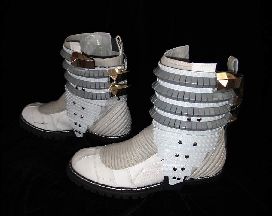 Spats for Taboo ~ Made from Legos<br> 'The E.N.D.' Tour designer: B. Akerlund ~ Photo: Steven LaNassa