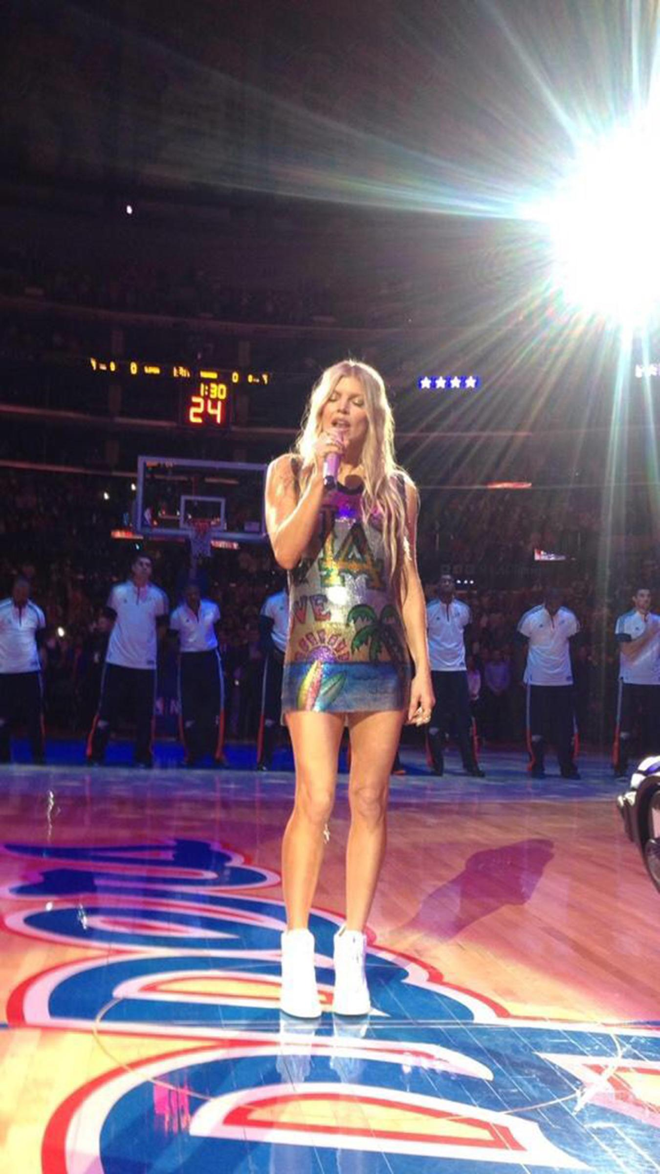 Hand Painted metal mesh dress<br>LA Lakers appearance Jan 2015