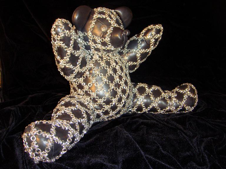 Sterling Silver & Leather Chain-maille Teddy Bear 2009