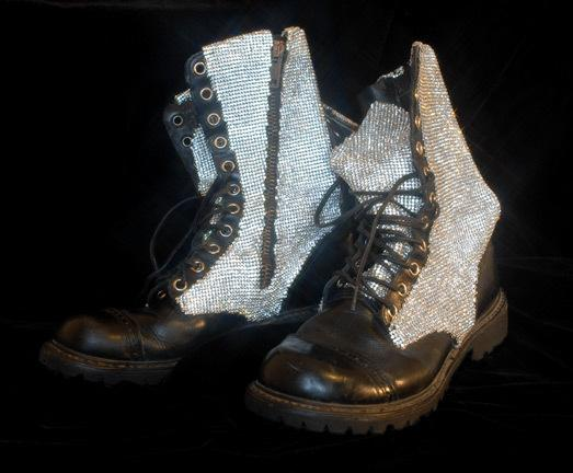 Swarovski crystal-mesh boots <br>Will.I.Am, Black Eyed Peas <br>'The E.N.D.' World Tour, 2010  Tour designer: B. Akerlund
