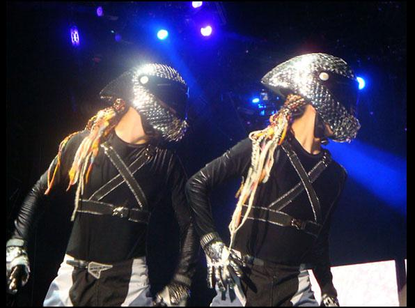 Metal scaled helmets<br>Sticky & Sweet World Tour, 2008-9 <br>Stylist Arianne Phillips
