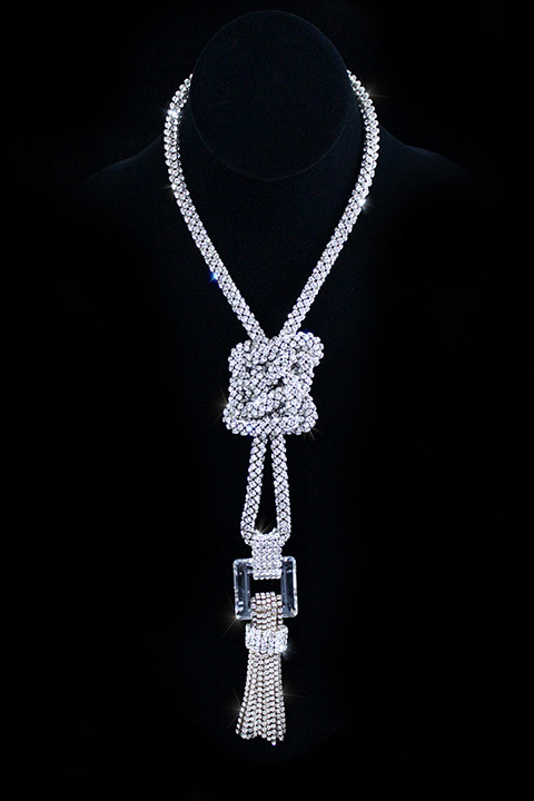 Swarovski Crystal Mesh Good Luck Knot Necklace