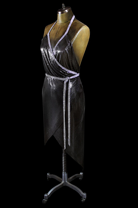 Gunmetal mesh wrap dress with Swarovski crystal mesh trim