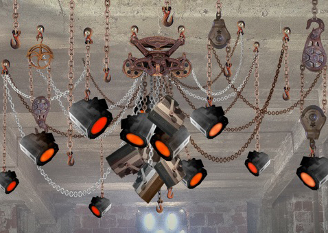 Reclaimed Chain Lighting Chandelier, Original Concept Art<br>Original United Artists Theatre can lighting fixtures<br>Downtown Los Angeles, CA 2014