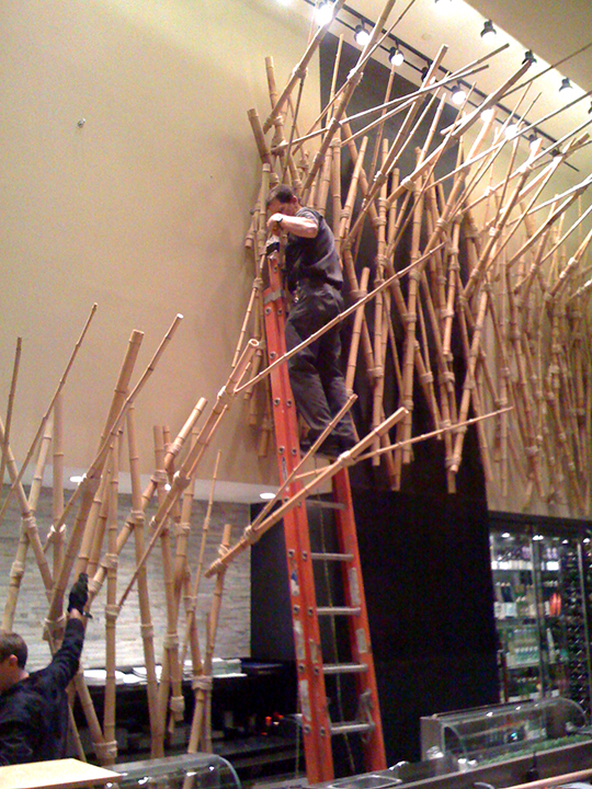 Hanging the Bamboo 'Wave' installation<br>Simon Restaurant<br>Palm's Place Casino Las Vegas, NV 2008
