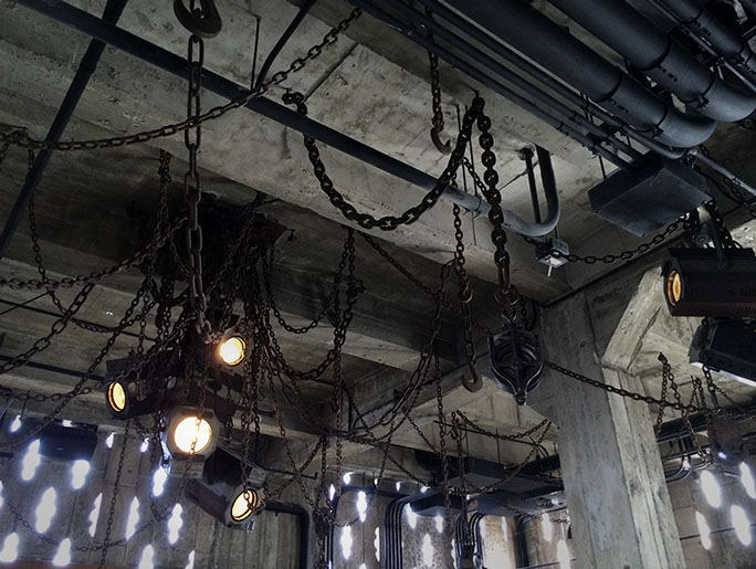 Reclaimed Chain Lighting Chandelier<br>Original United Artists Theatre can lighting fixtures<br>Downtown Los Angeles, CA 2014