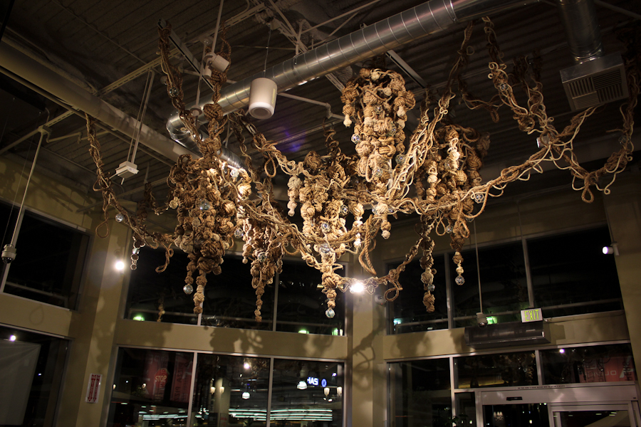 Knotted Rope Installation<br>Sisal, Jute and Cotton rope, glass floats, steel infrastructure<br>Whole Foods Food Court installation 2012