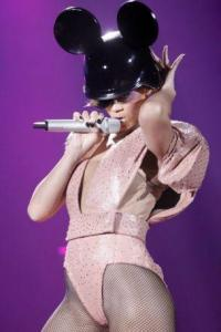 Nude powder coated metal mesh bodysuit with Swarovski crystals <br>Last Girl On Earth World Tour 2010