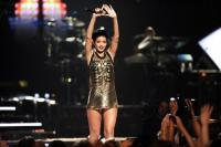 Gold plated metal mesh jersey dress for Jeremy Scott<br>IHeartRadio Festival 2012