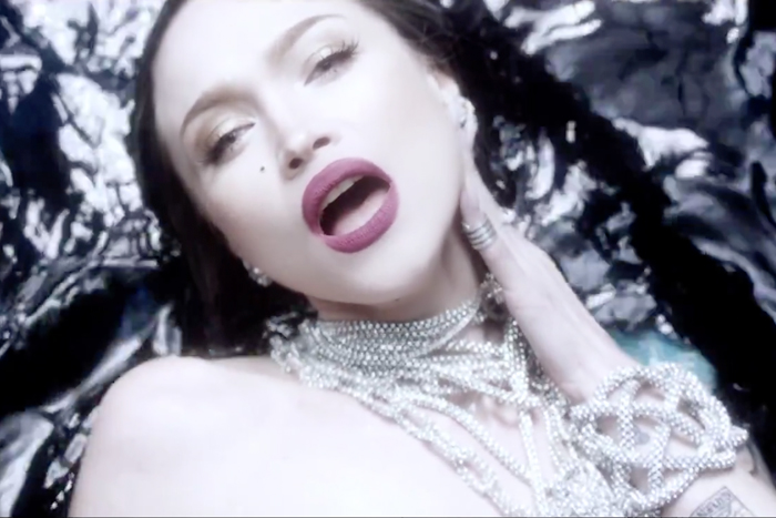 Swarovski crystal mesh rope necklaces, bangles and Divinity cage cuff<br>Who Can You Trust video, 2015<br>Stylist Bret Alan Nelson
