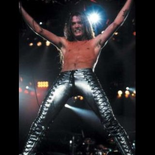 Custom silver leather pants<br>Worn by Sebastian Bach 1986