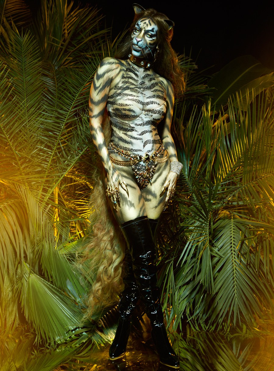 Crystal Tiger Stripe bodysuit. Paper Magazine. Styled by B Akerlund