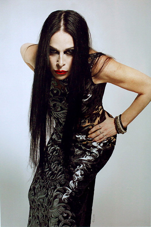 Crystal mesh jewelry<br>Worn by Diamanda Galas<br>Photo by Austin Young 2015