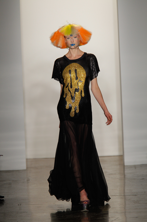Crystalled Melting Happy Face metal mesh dress <br>Jeremy Scott Fashion Show 2011