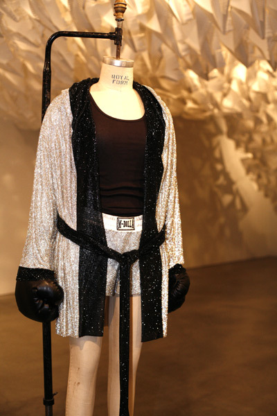 Swarovski Crystal Mesh Boxing Robe & Shorts <br>Created for Madonna, Sticky & Sweet World Tour, 2008 <br>Photo Shawn Smith