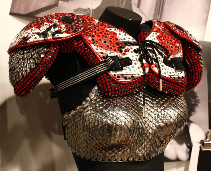 Swarovski Crystal Mesh Embellished Football Pads <br>& Metal Scaled Breast Plate <br>Created for Madonna, Sticky & Sweet Wold Tour, 2008 <br>Photo Shawn Smith