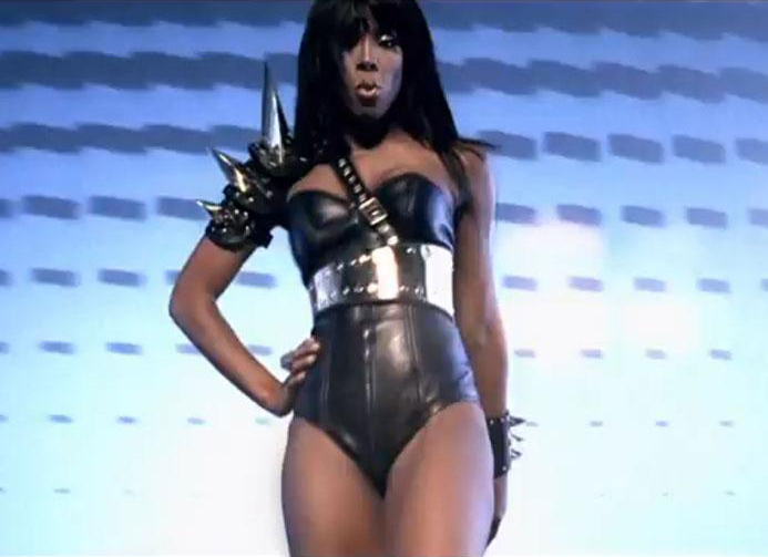 "Articulated Leather and Brass Shoulder Harness, Belt & Bracelet<br>Kelly Rowland ""Down For Whatever"" video 2011"
