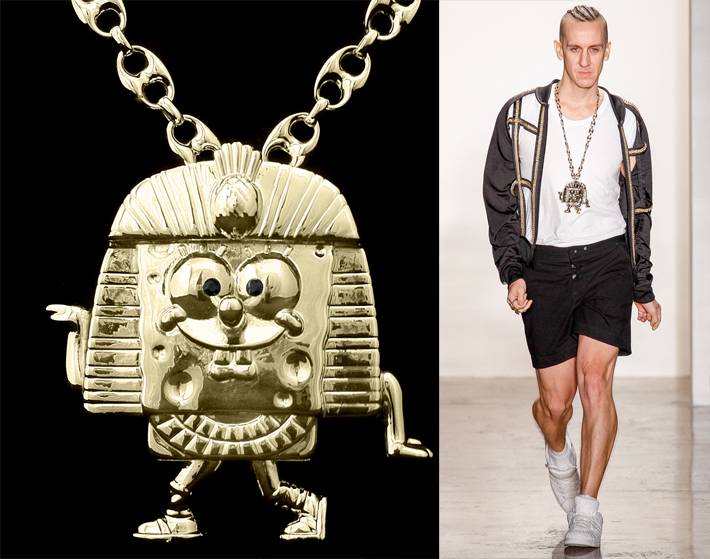 Gold plated SpongeBob necklace with Swarovski crystal eyes